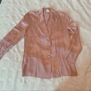 Baby pink satin patchwork blazer!